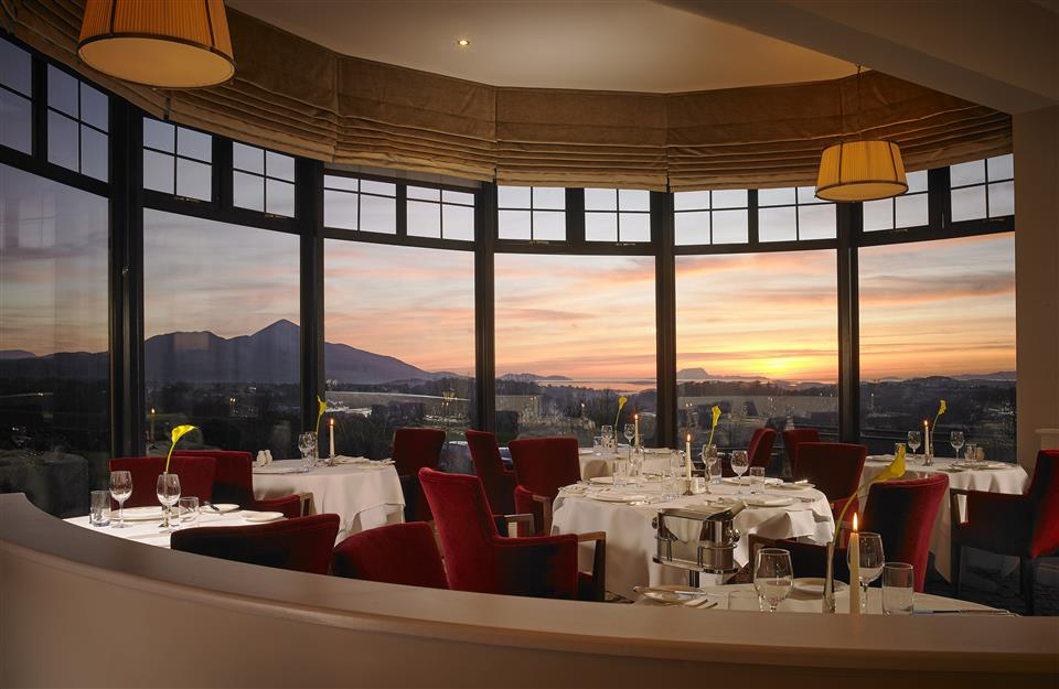 Knockranny House Hotel La Fougere Restaurant at sunset