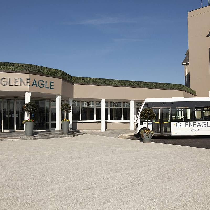 Exterior and Gleneagle Hotel shuttle bus