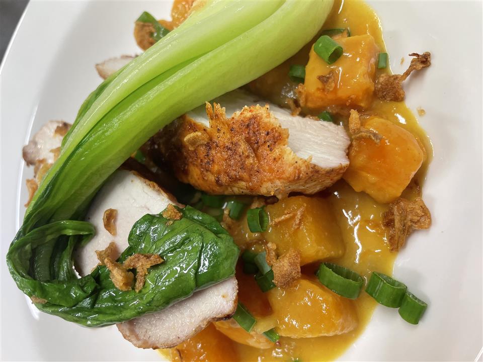 Grilled Chicken Supreme, Butternut Squash Curry